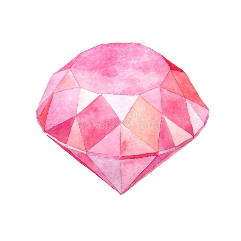 De manierillustratie van de waterverf roze gem