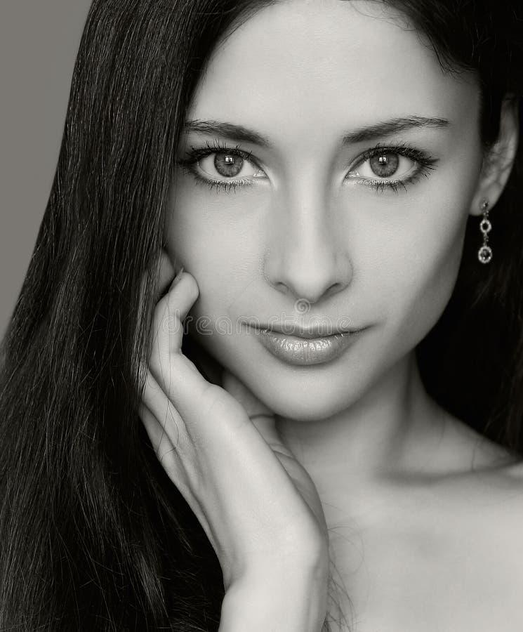 De manierportret van de close-up van vrouw stock afbeeldingen
