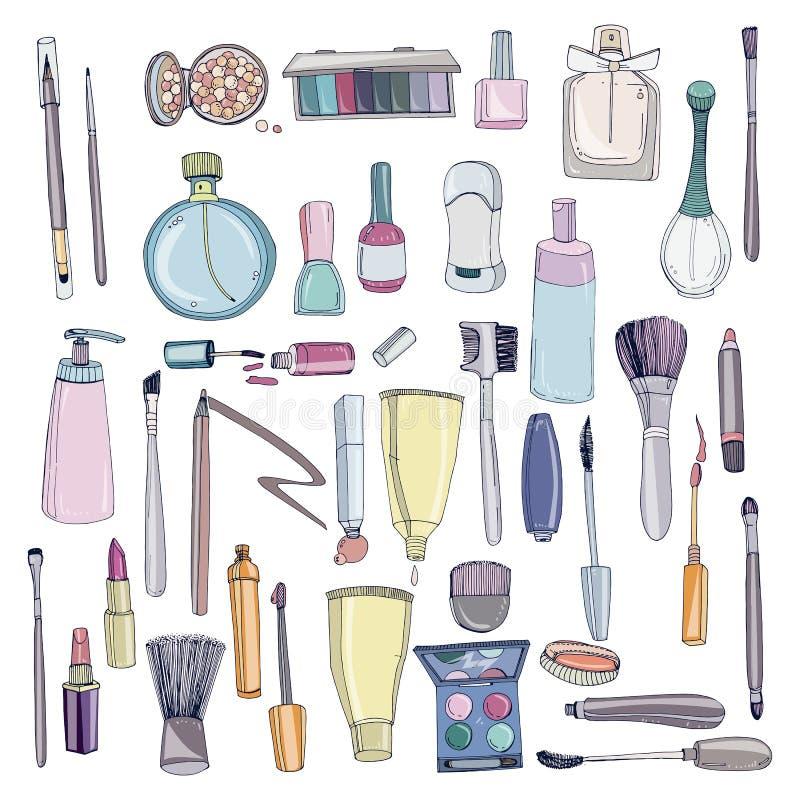 De manierschoonheidsmiddelen worden geplaatst met maken omhoog kunstenaarsvoorwerpen dat Kleurrijke vectorhand getrokken illustra stock illustratie