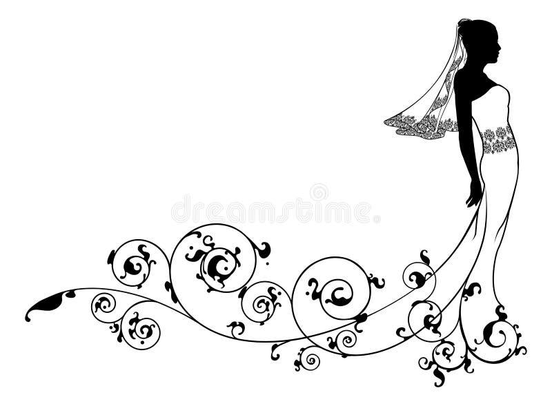 De maniersilhouet van het bruidhuwelijk stock illustratie