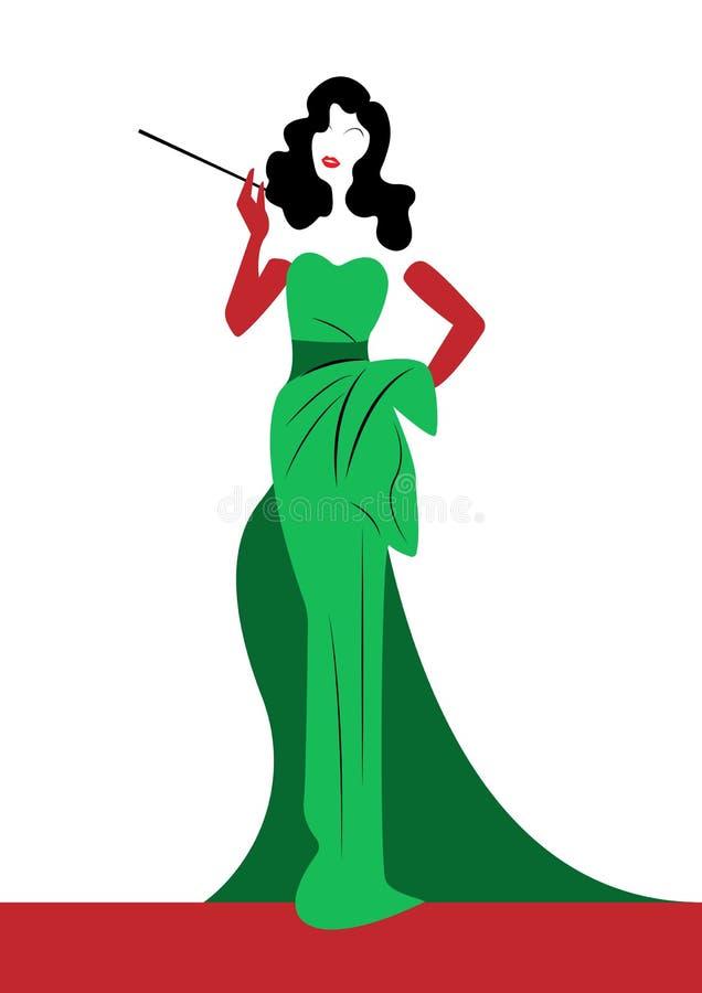 De maniervrouw van het winkelembleem, donkerbruine silhouetdiva Het ontwerp van het bedrijfembleem, Mooi dekkingsmeisje retro in  royalty-vrije illustratie