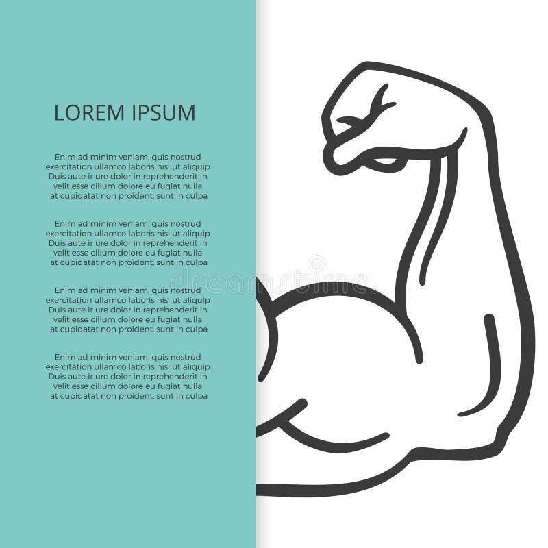 De mannelijk brochure van het spierwapen of bannermalplaatje vector illustratie