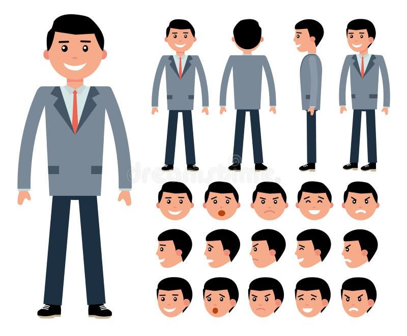 De mannelijke aannemer van het zakenmankarakter voor verschillend stelt vector illustratie