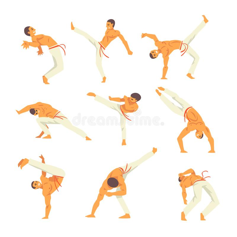 De mannelijke Capoeira-Geplaatste Vaardigheden van Danserscharacter showing his, Braziliaans Nationaal Krijgsart vector illustrat stock illustratie