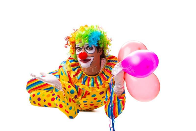 De mannelijke die clown op wit wordt geïsoleerd royalty-vrije stock fotografie