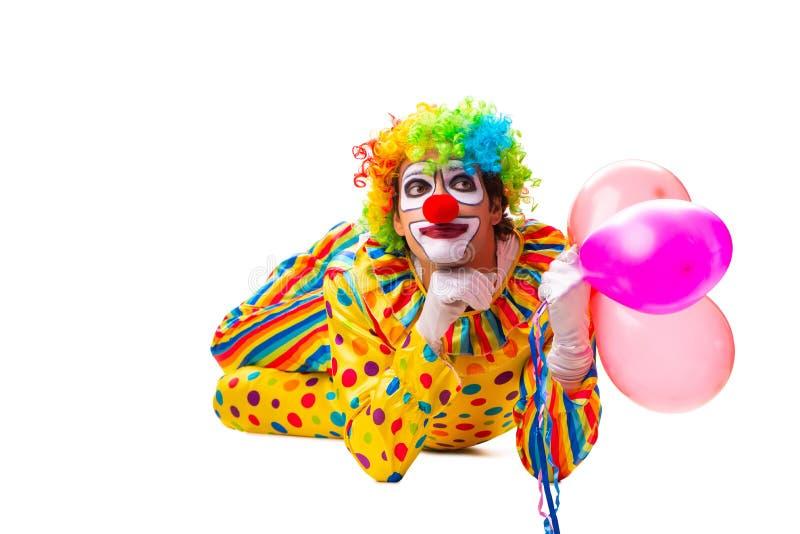 De mannelijke die clown op wit wordt geïsoleerd royalty-vrije stock afbeelding