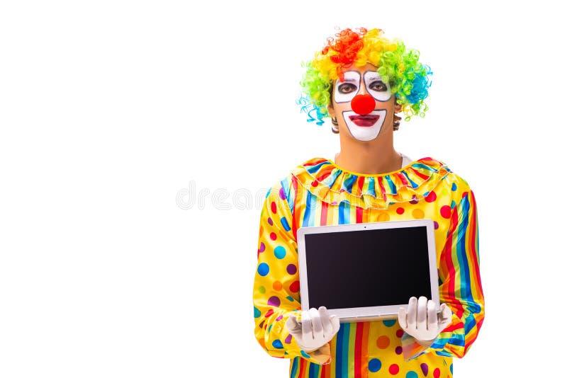 De mannelijke die clown op wit wordt geïsoleerd royalty-vrije stock foto