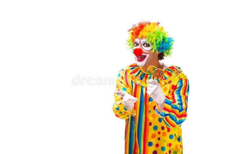 De mannelijke die clown op wit wordt ge?soleerd royalty-vrije stock foto's