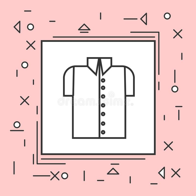 De mannelijke Dunne Lijn van het Overhemdspictogram in Roze Kader stock illustratie