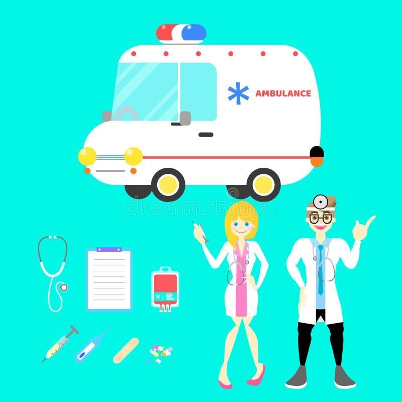 De mannelijke en vrouwelijke arts met ziekenwagenauto en materiaal plaatste voor het ziekenhuis op blauwe achtergrond stock illustratie