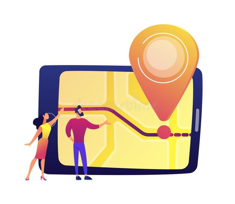 De mannelijke en vrouwelijke gebruikers die het tabletscherm bekijken met kaart en plaats spelden vectorillustratie royalty-vrije illustratie