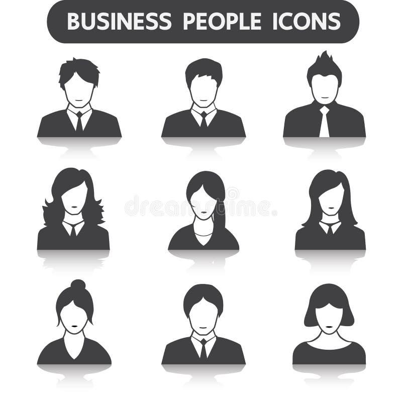 De mannelijke en vrouwelijke reeks van het bedrijfsmensenpictogram stock illustratie