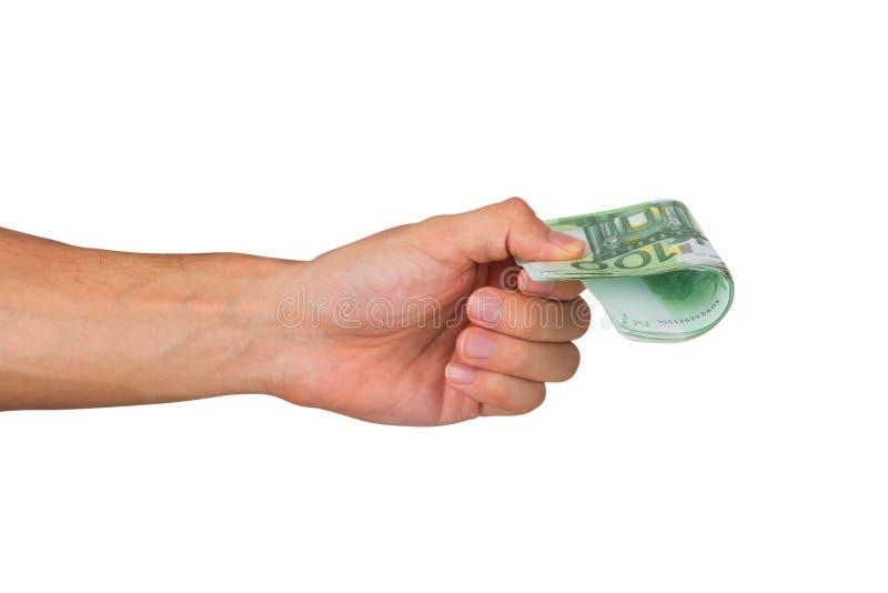 De mannelijke Euro Bankbiljetten van de Handholding stock foto's