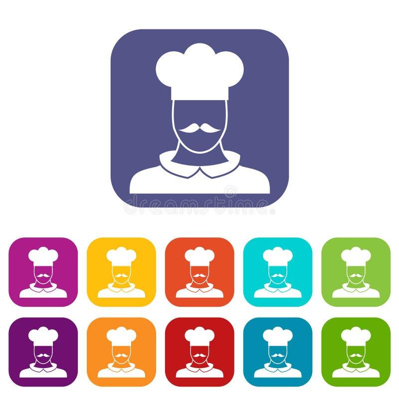 De mannelijke geplaatste pictogrammen van de chef-kokkok stock illustratie