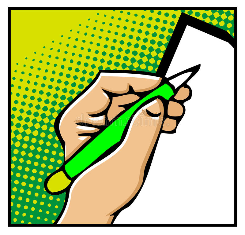 De mannelijke handen van het pop-art met pen stock illustratie