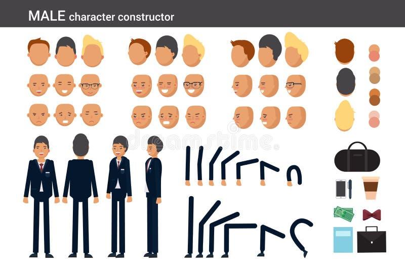 De mannelijke karakteraannemer voor verschillend stelt stock illustratie
