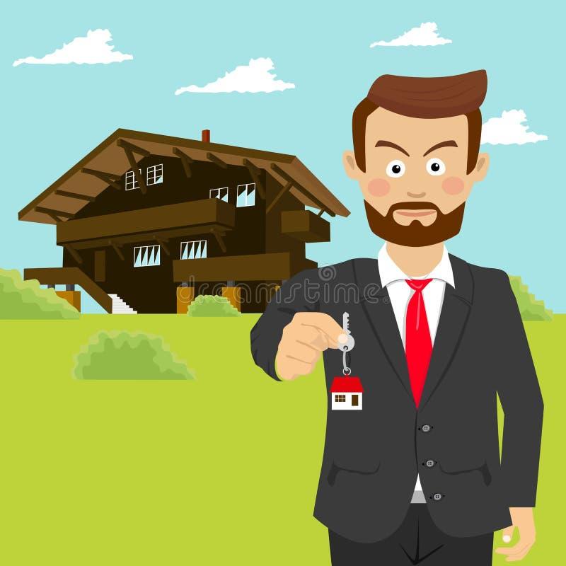 De mannelijke makelaar in onroerend goed die van de landgoedagent huissleutel voor huis tonen royalty-vrije illustratie