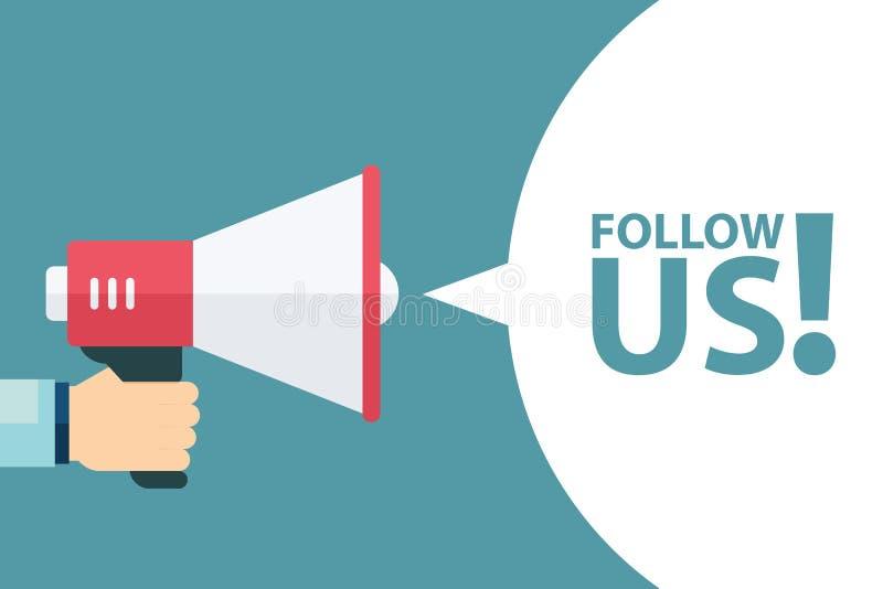 De mannelijke megafoon van de handholding met volgt ons toespraakbel Volg ons banner voor sociale netwerken luidspreker royalty-vrije illustratie