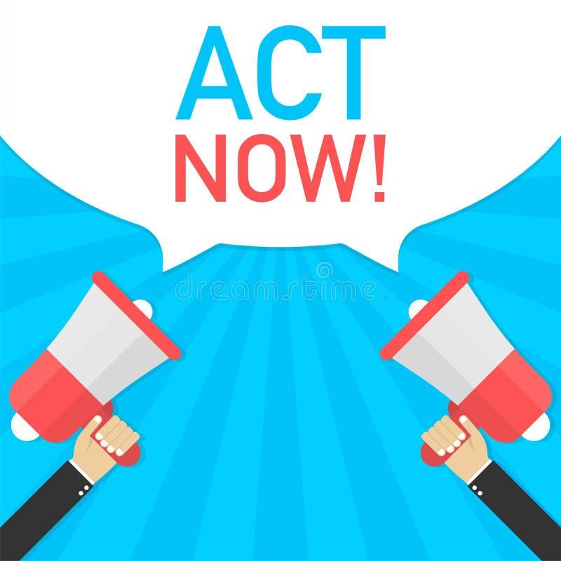 De mannelijke megafoon van de handholding met Akte nu! toespraakbel Banner voor zaken Vector illustratie stock illustratie