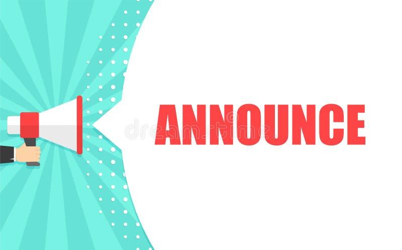 De mannelijke megafoon van de handholding met Announce toespraakbel luidspreker Banner voor zaken, marketing en reclame vector illustratie