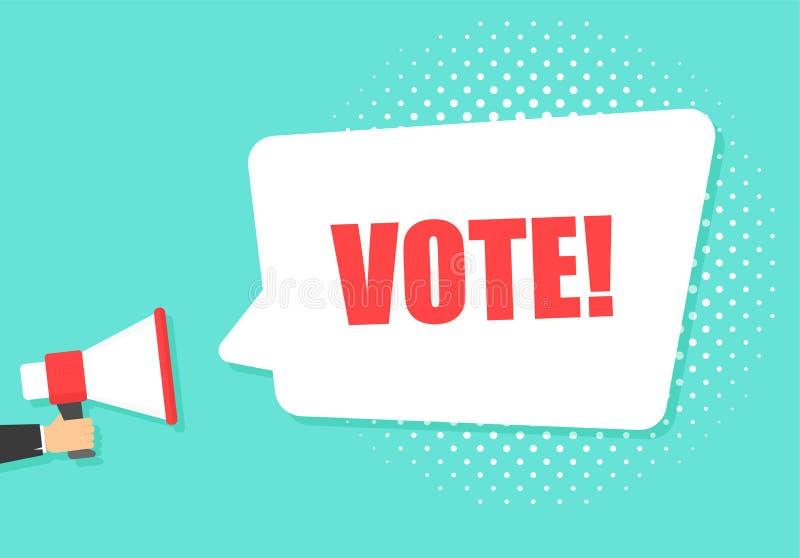 De mannelijke megafoon van de handholding met de bel van de Stemtoespraak luidspreker Banner voor zaken, marketing en reclame Vec vector illustratie