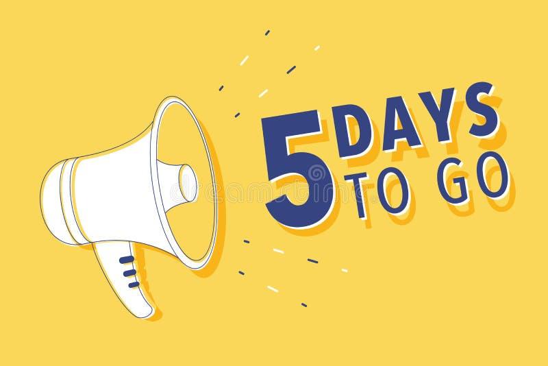 De mannelijke megafoon van de handholding met 5 dagen om te gaan toespraakbel luidspreker Banner voor zaken, marketing en reclame vector illustratie