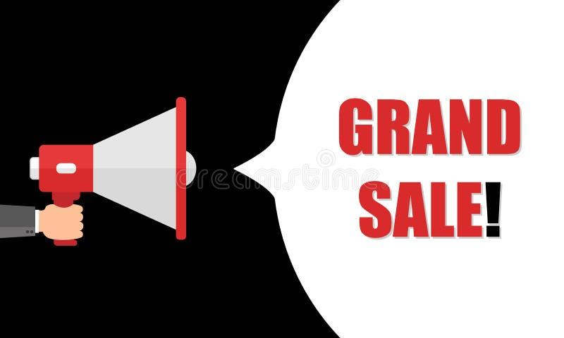 De mannelijke megafoon van de handholding met Grote verkoop! toespraakbel luidspreker Banner voor zaken, marketing en reclame Vec stock illustratie