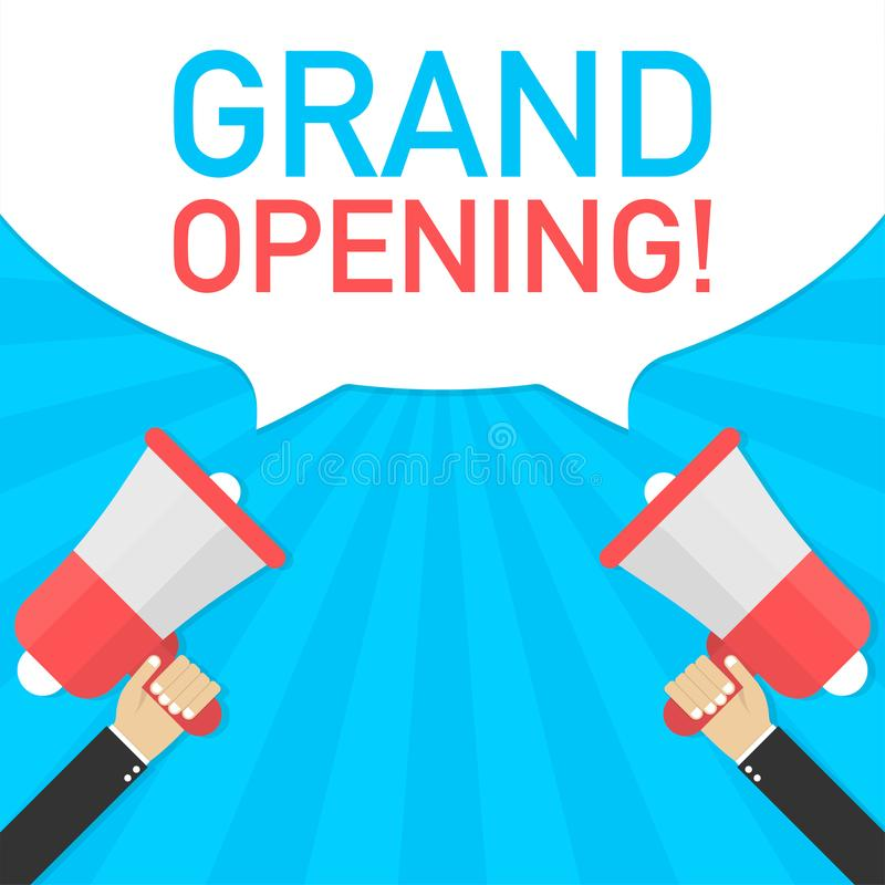 De mannelijke megafoon van de handholding met het Grote openen! toespraakbel Banner voor zaken Vector illustratie vector illustratie