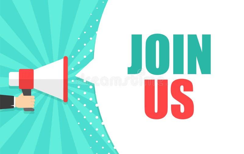 De mannelijke megafoon van de handholding met Join ons toespraakbel luidspreker Banner voor zaken, marketing en reclame royalty-vrije illustratie