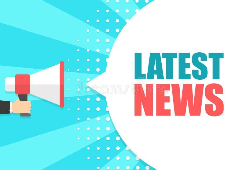 De mannelijke megafoon van de handholding met de Recentste bel van de nieuwstoespraak luidspreker Banner voor zaken, marketing en royalty-vrije illustratie
