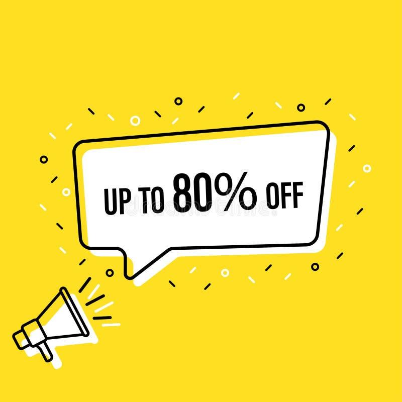De mannelijke megafoon van de handholding met verkoopmarkering tot 80 percenten van toespraakbel luidspreker Banner voor zaken, d vector illustratie