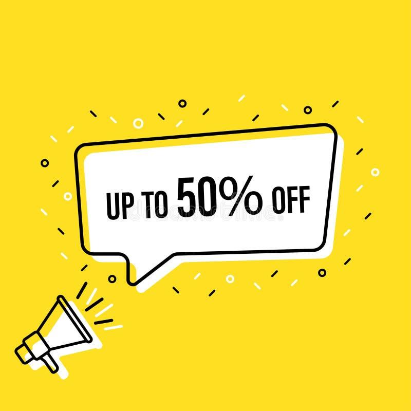 De mannelijke megafoon van de handholding met verkoopmarkering tot 50 percenten van toespraakbel luidspreker Banner voor zaken, d vector illustratie