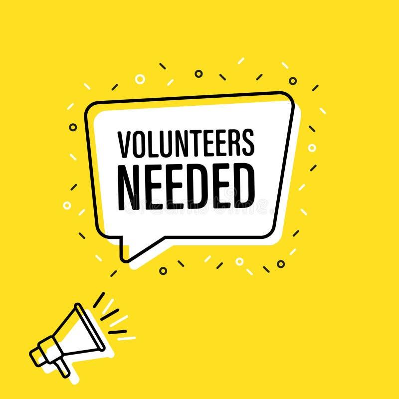 De mannelijke megafoon van de handholding met vrijwilligers nodig toespraakbel luidspreker Banner voor zaken, die op de markt bre royalty-vrije illustratie