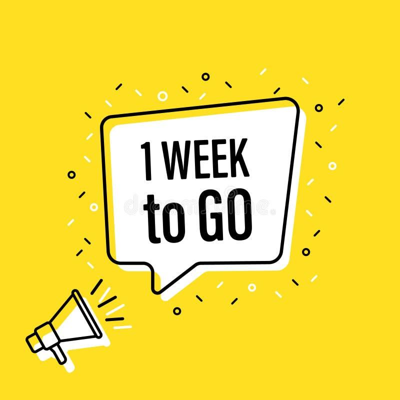 De mannelijke megafoon van de handholding met 1 week om te gaan toespraakbel luidspreker Banner voor zaken, marketing en reclame  stock illustratie