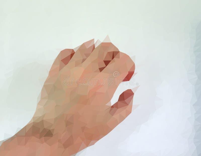 De mannelijke mens polygonized hand die verschillende gebaren tonen stock illustratie