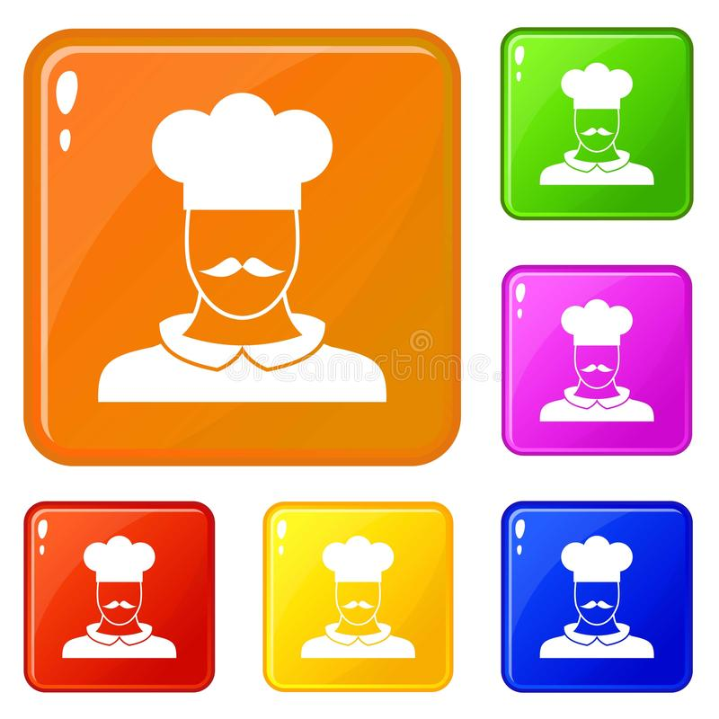De mannelijke pictogrammen van de chef-kokkok geplaatst vectorkleur stock illustratie