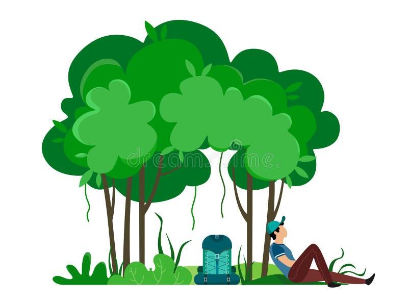 De mannelijke reiziger ging zitten om onder de bomen te rusten Vectorillustratie van aard en de mens in beeldverhaalstijl op een  stock illustratie