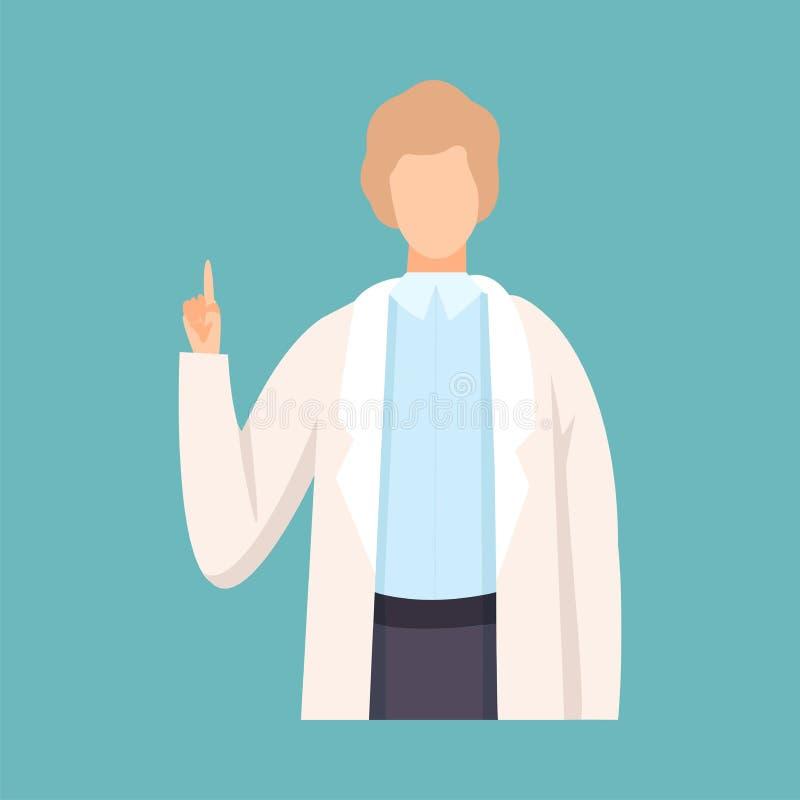 De mannelijke Vinger die van Artsenraising up his Advies of Aanbeveling, Professioneel Medisch Arbeiderskarakter in Wit Laborator stock illustratie