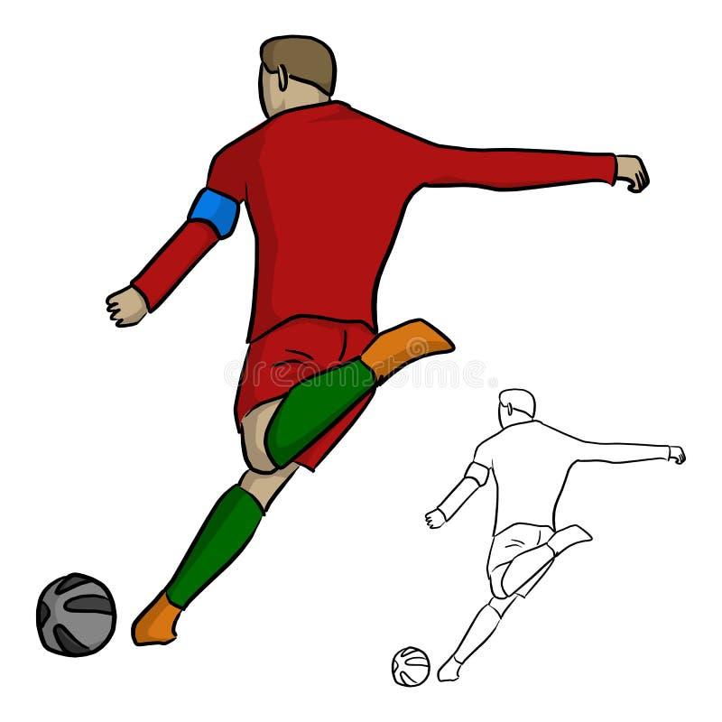 De mannelijke voetballer schiet de bal met linkervoet vectorillustra vector illustratie