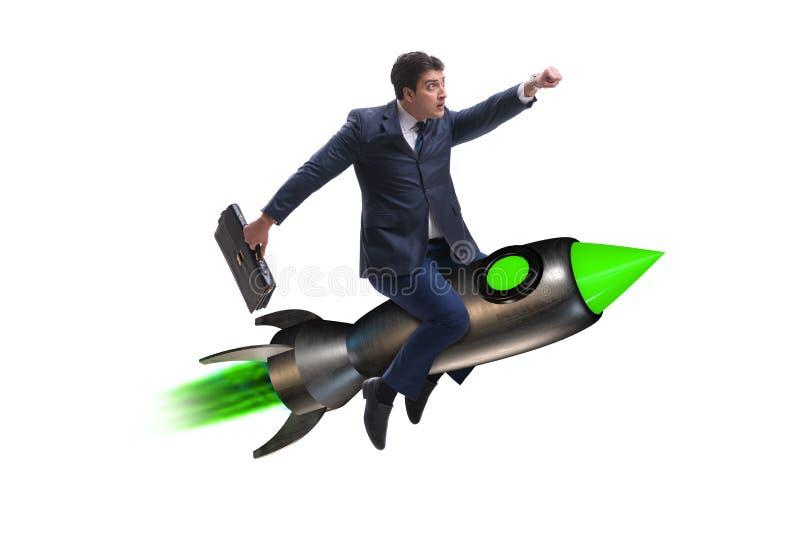 De mannelijke zakenman die op raket in bedrijfsconcept vliegen stock afbeelding