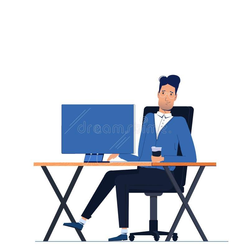 De mannelijke zitting van het zakenmankarakter in bureau achter werkplaats op het bureau van de computermonitor stock illustratie