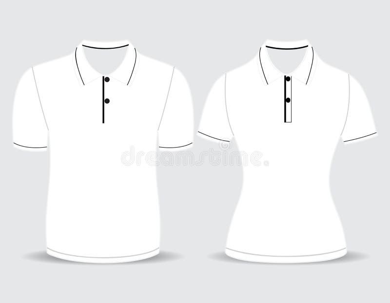 De mannen en de vrouwenoverzicht van het polooverhemd vector illustratie