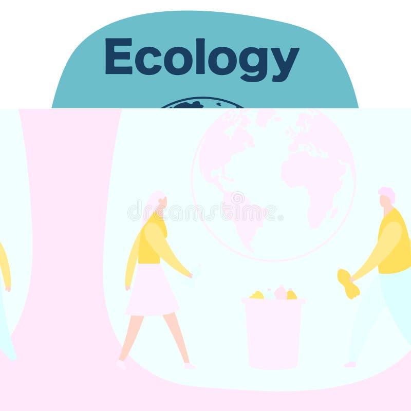 De mannen en de vrouw verzamelen plastic flessen in het afval, afval recyclingsconcept, geïsoleerde beeldverhaal vectorillustrati royalty-vrije illustratie