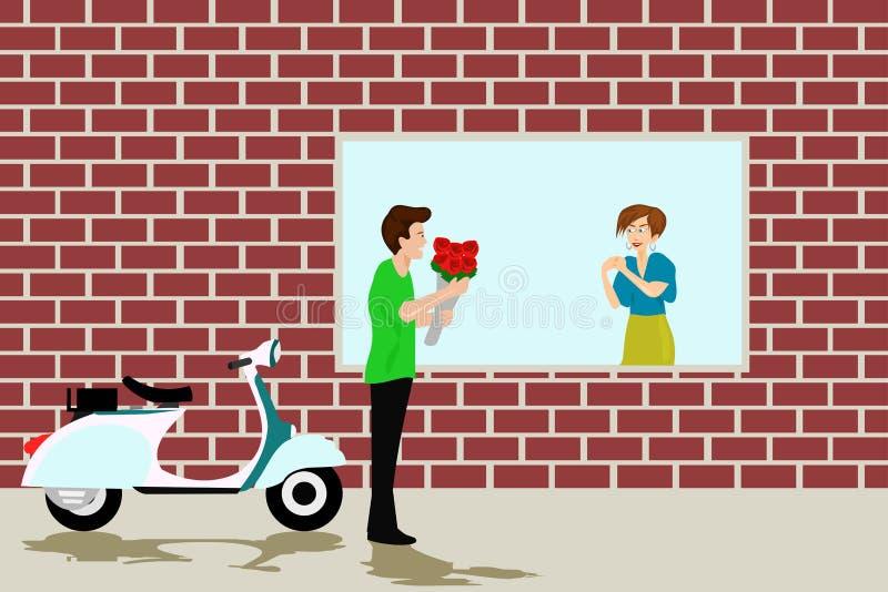 De mannen geven vrouwen rode rozen Met een bakstenen muur op de achtergrond vector illustratie
