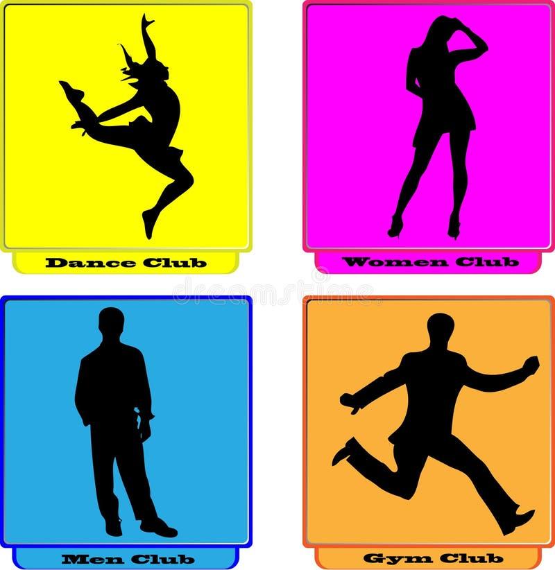 De mannen van de dansvrouwen van het embleem gymnastiekclub vector illustratie
