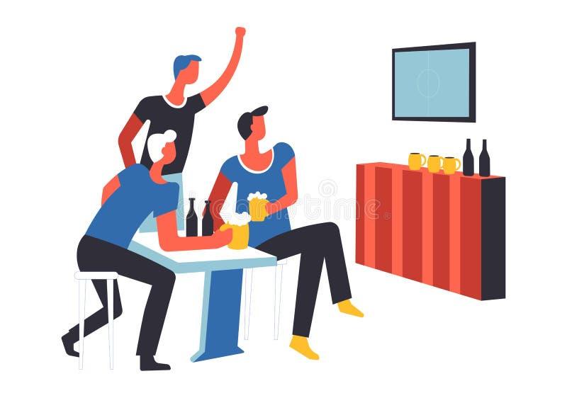De mannetjes die van partijmensen op de geïsoleerde vector van TV letten gelijke royalty-vrije illustratie