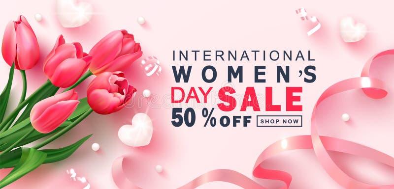 8 de março bandeira feliz da venda do dia do ` s das mulheres Fundo bonito com tulipas, corações, serpentina, grânulos e fita Vet ilustração royalty free