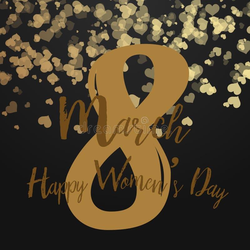 8 de março cartão com corações de queda no preto Dia feliz do ` s das mulheres Vetor ilustração stock
