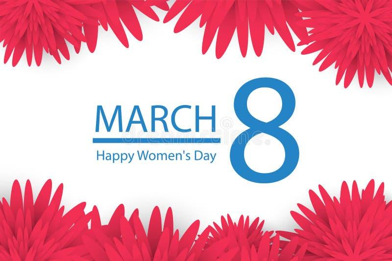 8 de março Cartão floral cor-de-rosa Dia feliz do ` s das mulheres Fundo azul de papel do feriado da flor de corte com quadro qua ilustração royalty free
