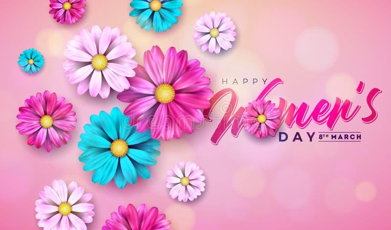 8 de março Cartão floral do dia das mulheres felizes Ilustração internacional do feriado com projeto da flor no fundo cor-de-rosa ilustração stock